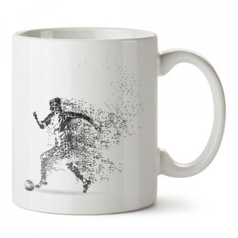 Noktasal Çizim Futbolcu tasarım baskılı kupa bardak (mug). Futbolculara ve futbol severlere hediyelik kupa. Futbol sevene en güzel hediye. Futbol konulu tasarımlar.