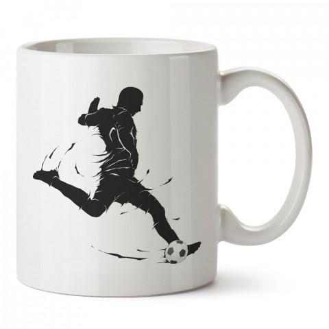 Şut Çeken Gölge Futbolcu tasarım baskılı kupa bardak (mug). Futbolculara ve futbol severlere hediyelik kupa. Futbol sevene en güzel hediye. Futbol konulu tasarımlar.