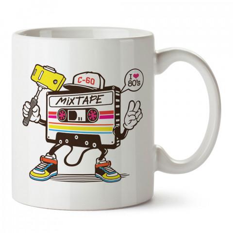 I Love 80's Kaset tasarım baskılı kupa bardak (mug). Retroculara ve retro severlere hediyelik kupa. Retro sevene en güzel hediye. Retro konulu tasarımlar.