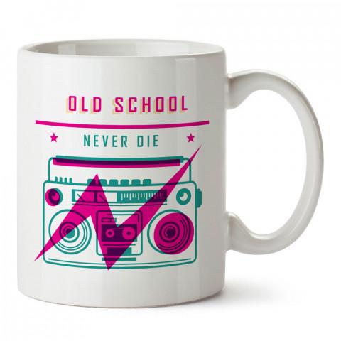 Old School Asla Ölmez tasarım baskılı kupa bardak (mug). Retroculara ve retro severlere hediyelik kupa. Retro sevene en güzel hediye. Retro konulu tasarımlar.