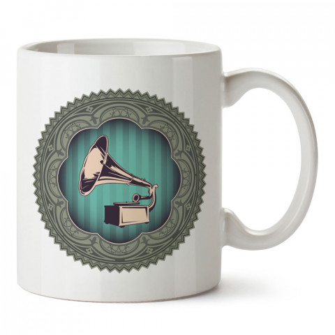 Pop Art Gromofon tasarım baskılı kupa bardak (mug). Retroculara ve retro severlere hediyelik kupa. Retro sevene en güzel hediye. Retro konulu tasarımlar.