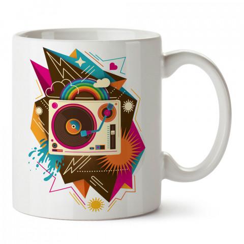 Pop Art Plak Çalar tasarım baskılı kupa bardak (mug). Retroculara ve retro severlere hediyelik kupa. Retro sevene en güzel hediye. Retro konulu tasarımlar.