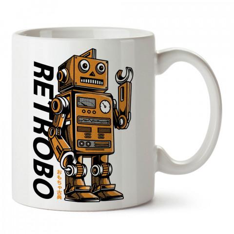 Retrobo Robot tasarım baskılı kupa bardak (mug). Retroculara ve retro severlere hediyelik kupa. Retro sevene en güzel hediye. Retro konulu tasarımlar.