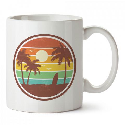 Retro Miami Beach tasarım baskılı kupa bardak (mug). Retroculara ve retro severlere hediyelik kupa. Retro sevene en güzel hediye. Retro konulu tasarımlar.