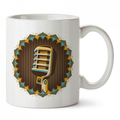 Retro Mikrofon tasarım baskılı kupa bardak (mug). Retroculara ve retro severlere hediyelik kupa. Retro sevene en güzel hediye. Retro konulu tasarımlar.