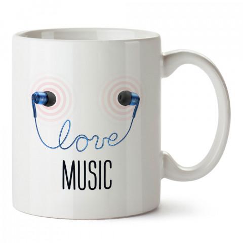 Müzik Aşkı Kulaklık tasarım baskılı kupa bardak (mug). Müzisyenlere ve müzikseverlere hediyelik kupa. Müzik sevene özel hediye. Müzik konulu tasarımlar.