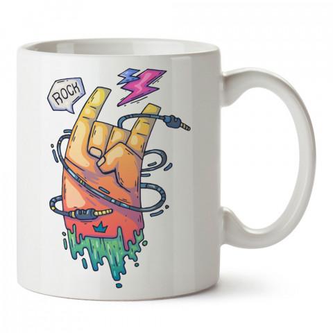 Comic Rock İşareti tasarım baskılı kupa bardak (mug). Müzisyenlere ve müzikseverlere hediyelik kupa. Müzik sevene özel hediye. Müzik konulu tasarımlar.