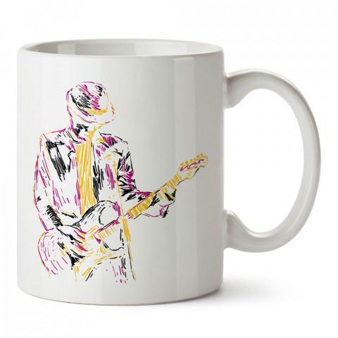 Çizgisel Blues Jazz Gitar tasarım baskılı kupa (mug). Müzisyenlere ve müzikseverlere hediyelik kupa. Müzik sevene hediye. Müzik konulu tasarımlar.