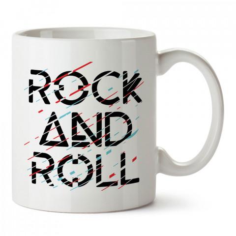 ÇizgiselRock And Roll  tasarım baskılı kupa (mug). Müzisyenlere ve müzikseverlere hediyelik kupa. Müzik sevene hediye. Müzik konulu tasarımlar.