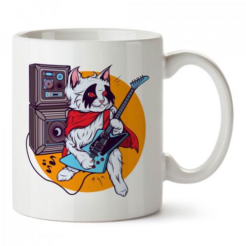 Elektro Gitarist Kedi tasarım baskılı kupa bardak (mug). Müzisyenlere ve müzikseverlere hediyelik kupa. Müzik sevene özel hediye. Müzik konulu tasarımlar.