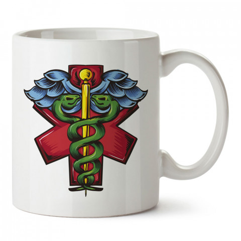 Tıp Sembolü Doktor tasarım baskılı kupa bardak (mug). Doktorlara ve hemşirelere hediyelik kupa bardak. Sağlık çalışanlarına özel hediye. Sağlıkçılara kupa bardak.