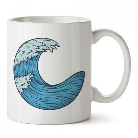 Çizim Dalga tasarım baskılı kupa bardak (mug bardak). En güzel baskılı kupa bardak çeşitleri. Tasarım kupa bardak çeşitleri. Hediye kupa. Kahve kupası.