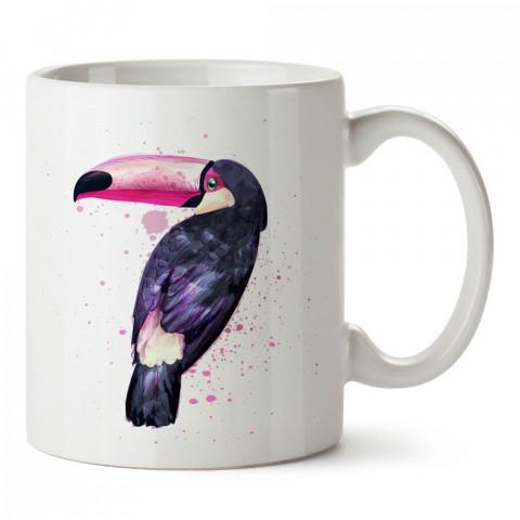 Tropikal Tukan Kuşu tasarım baskılı kupa bardak (mug bardak). En güzel baskılı kupa bardak çeşitleri. Tasarım kupa bardak çeşitleri. Hediye kupa. Kahve kupası.