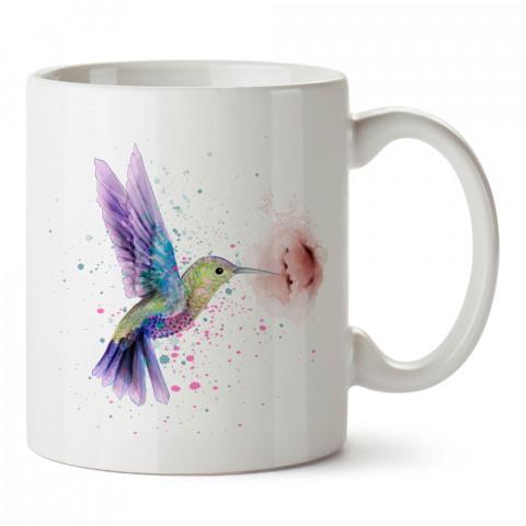 Renkli Sinek Kuşu tasarım baskılı kupa bardak (mug bardak). En güzel baskılı kupa bardak çeşitleri. Hayvanseverler için kupa bardak çeşitleri. Kahve kupası.