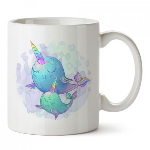 Renkli Boynuzlı Narval Balık tasarım baskılı kupa bardak (mug bardak). En güzel baskılı kupa bardak çeşitleri. Tasarım kupa bardak çeşitleri. Hediye kupa. Kahve kupası.