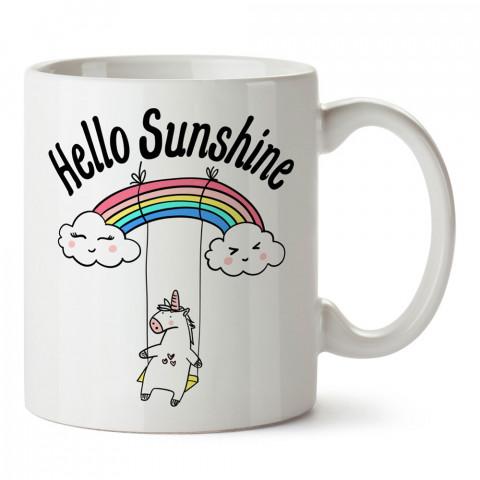 Hello Sunshine Unicorn tasarım baskılı kupa bardak (mug bardak). En güzel baskılı kupa bardak çeşitleri. Tasarım kupa bardak çeşitleri. Hediye kupa. Kahve kupası.
