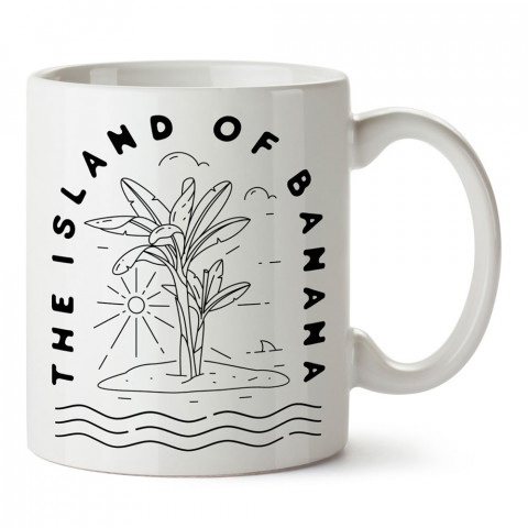 Banana Island tasarım baskılı kupa bardak (mug bardak). En güzel baskılı kupa bardak çeşitleri. Tasarım kupa bardak çeşitleri. Hediye kupa. Kahve kupası.