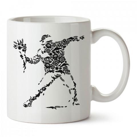 Çiçekli Direniş tasarım baskılı kupa bardak (mug bardak). En güzel baskılı kupa bardak çeşitleri. Tasarım kupa bardak çeşitleri. Hediye kupa. Kahve kupası.