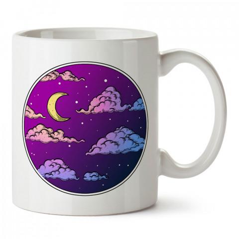 Mor Gece Gökyüzü tasarım baskılı kupa bardak (mug bardak). En güzel baskılı kupa bardak çeşitleri. Tasarım kupa bardak modelleri. Hediye kupa. Kahve kupası.