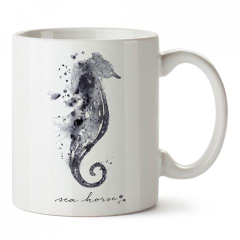 Sulu Boya Deniz Atı tasarım baskılı kupa bardak (mug bardak). En güzel baskılı kupa bardak çeşitleri. Hayvansever kupa bardak modelleri. Hediye kupa. Kahve kupası.