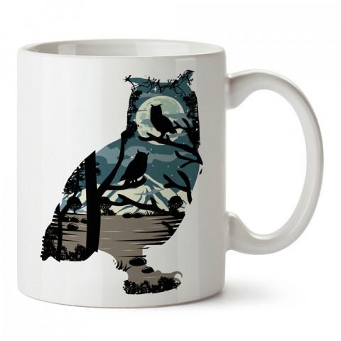 Baykuş ve Gece Manzarası tasarım baskılı kupa bardak (mug bardak). En güzel baskılı kupa bardak çeşitleri. Hayvansever kupa bardak modelleri. Hediye kupa. Kahve kupası.