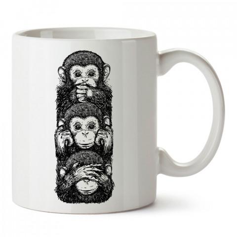 Üç Maymun Kara Kalem Çizim tasarım baskılı kupa bardak (mug bardak). En güzel baskılı kupa bardak çeşitleri. Hayvansever kupa bardak modelleri. Hayvansevere hediye.