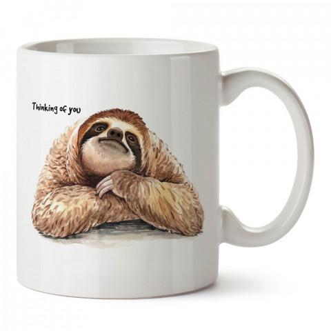 Seni düşünüyorum tasarım baskılı kupa bardak (mug bardak). En güzel baskılı kupa bardak çeşitleri. Tembel Hayvan çizimli kupa bardak modelleri. Hayvansevere hediye.