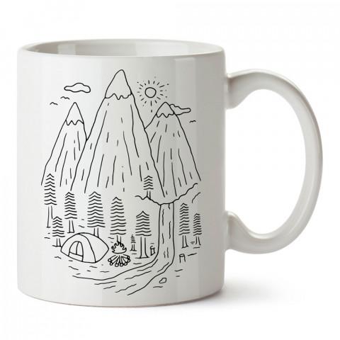 Minimal Çizim Kamp ve Doğa tasarım baskılı kupa bardak (mug bardak). Doğaseverlere en güzel baskılı kupa bardak çeşitleri. Kampçılara hediye kupa bardak modelleri.