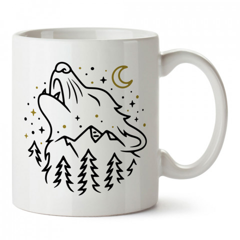 Uluyan Kurt ve Dağlar tasarım baskılı kupa bardak (mug bardak). En güzel baskılı kupa bardak çeşitleri. Doğasever kupa bardak modelleri. Hayvansevere hediye.