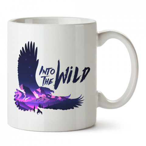Şahin Silüeti Vahşi Doğaya tasarım baskılı kupa bardak (mug bardak). En güzel baskılı kupa bardak çeşitleri. Doğasever kupa bardak modelleri. Hayvansevere hediye.