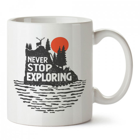 Keşfetmeyi Asla Bırakma tasarım baskılı kupa bardak (mug bardak). Doğaseverlere en güzel baskılı kupa bardak çeşitleri. Kampçılara hediye kupa bardak modelleri.