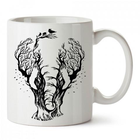 Fil Figürü Ağaç tasarım baskılı kupa bardak (mug bardak). En güzel baskılı kupa bardak çeşitleri. Doğasever kupa bardak modelleri. Hayvansevere hediye.