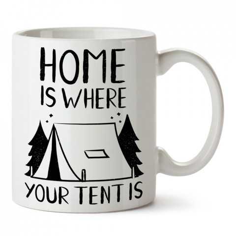 Çadırının Olduğu Yer Evindir tasarım baskılı kupa bardak (mug bardak). Doğaseverlere en güzel baskılı kupa bardak çeşitleri. Kampçılara hediye kupa bardak modelleri.