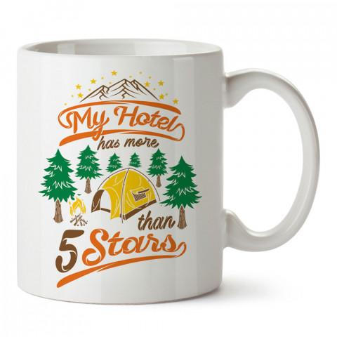 Otelimde 5ten Fazla Yıldız Var Kamp tasarım baskılı kupa bardak (mug bardak). Doğa ve maceraseverlere en güzel baskılı kupa bardak çeşitleri. Kampçılara hediye kupa.