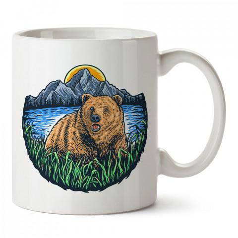 Doğa ve Bozayı tasarım baskılı kupa bardak (mug bardak). En güzel baskılı kupa bardak çeşitleri. Doğasever kupa bardak modelleri. Hayvansevere hediye.