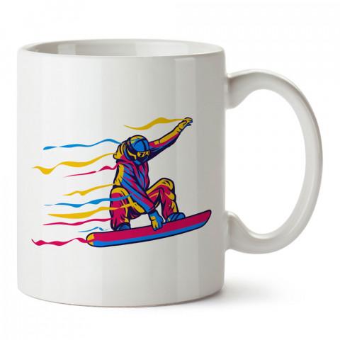 Renkli Snowboardcu tasarım baskılı kupa bardak (mug bardak). En güzel baskılı kupa bardak çeşitleri. Snowboardculara hediye kupa bardak modelleri. Snowboardcuya hediye.