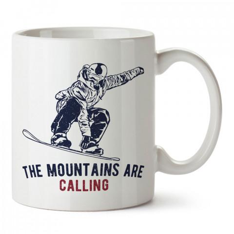 Dağlar Çağırıyor Snowboard tasarım baskılı kupa bardak (mug bardak). En güzel baskılı kupa bardak çeşitleri. Snowboardculara hediye kupa modelleri. Snowboardcuya hediye.