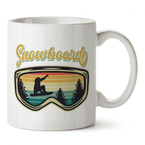 Snowboard Gözlüğü ve Manzara tasarım baskılı kupa bardak (mug bardak). Snowboardculara ve kayakçılara hediye kupa bardak modelleri. Kayak ve snowboard hediye.