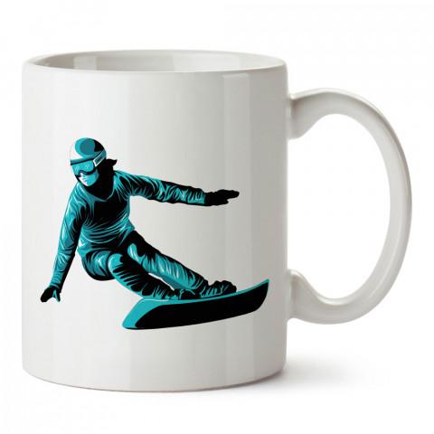 Turkuaz Snowboardcu tasarım baskılı kupa bardak (mug bardak). Snowboardculara ve kayakçılara hediye kupa bardak modelleri. Kayak ve snowboard hediye.
