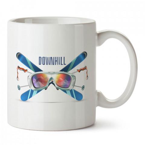 Yokuş Aşağı Kayak tasarım baskılı kupa bardak (mug bardak). Snowboardculara ve kayakçılara hediye kupa bardak modelleri. Kayak ve snowboard hediye.