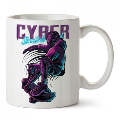 Siber Kaykay ve Robot tasarım baskılı kupa bardak (mug bardak). Kaykaycılara ve patencilere hediye kupa bardak modelleri. Patenciye ve kaykaycıya hediye.