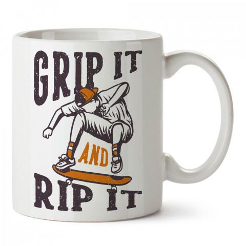 Kaykayı Kavra tasarım baskılı kupa bardak (mug bardak). Kaykaycılara ve patencilere hediye kupa bardak modelleri. Patenciye ve kaykaycıya hediye.