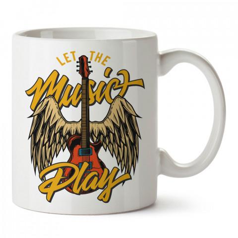 Müzik Çalsın Melek Gitar tasarım baskılı kupa bardak (mug bardak). Müzik konulu hediye kupa bardak modelleri. Müzisyenlere ve müzik tutkunlarına hediye.