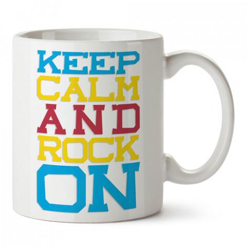 Keep Calm And Rock On tasarım baskılı kupa bardak (mug bardak). Müzik konulu hediye kupa bardak modelleri. Müzisyenlere ve müzik tutkunlarına hediye.
