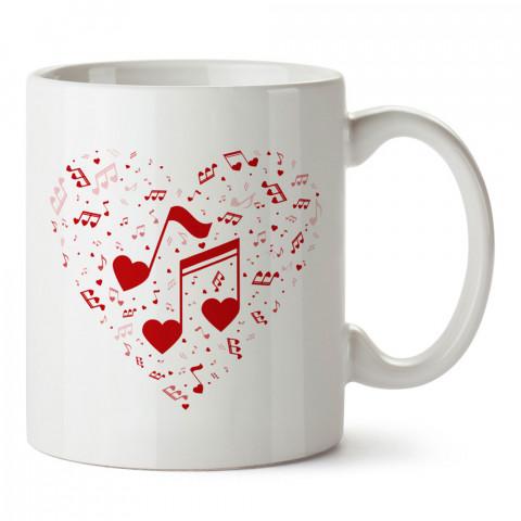 Notalardan Kalp tasarım baskılı kupa bardak (mug bardak). Müzik konulu hediye kupa bardak modelleri. Müzisyenlere ve müzik tutkunlarına hediye.
