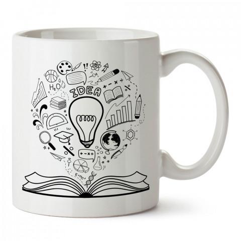 Kitap Ampul ve Fikir tasarım baskılı kupa bardak (mug bardak). Öğretmene hediye kupa bardak modelleri. Öğretmenlere hediye seçenekleri. Öğretmen kupası.