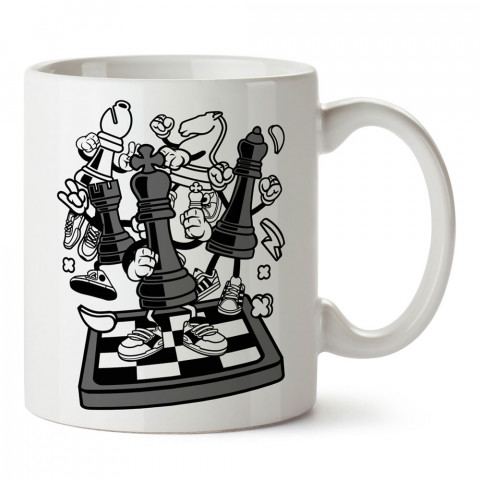 Canlı Satranç Taşları tasarım baskılı kupa bardak (mug bardak). Oyuncuya, Gamera hediye kupa bardak. Oyunculara hediye seçenekleri. Oyunseverlere kupa bardak.