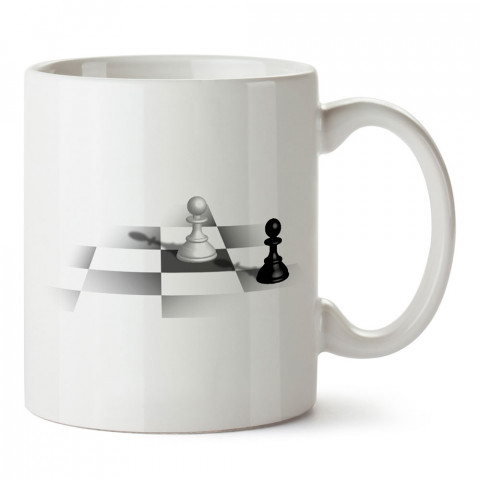 Siyah Piyon Beyaz Piyon Satranç tasarım baskılı kupa bardak (mug bardak). Oyuncuya, Gamera hediye kupa bardak. Oyunculara hediye seçenekleri. Oyunseverlere kupa bardak.
