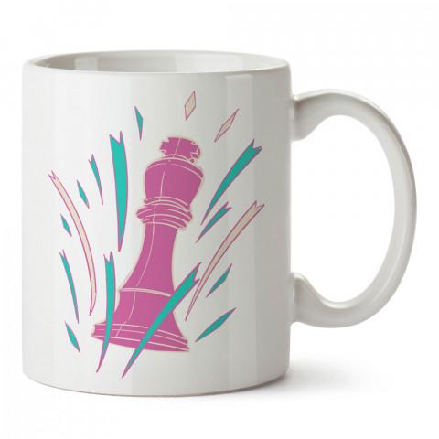 Satranç Mor Şah tasarım baskılı kupa bardak (mug bardak). Oyuncuya, Gamera hediye kupa bardak. Oyunculara hediye seçenekleri. Oyunseverlere kupa bardak.