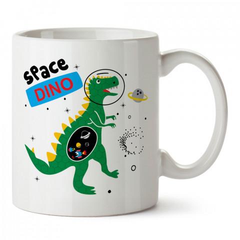 Astronot Uzay Dinozoru tasarım baskılı kupa bardak (mug bardak). Uzay ve galaksi desenleri sevenlere hediye. Astronot baskılı kupa. Uzay meraklılarına hediyelik.